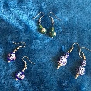 3 pairs Vintage Asian glass ball earrings.